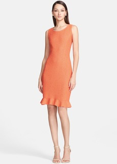 St. John Collection Flounce Hem Slub Knit Sheath Dress