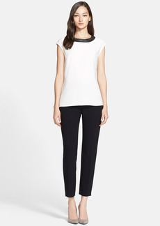 St. John Collection Fringe & Leather Trim Luxe Crepe Top