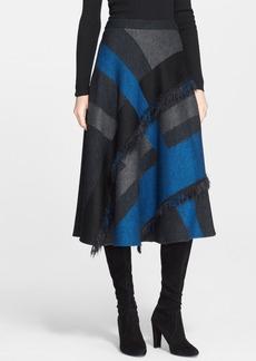 St. John Collection Fringe Detail Plaid Midi Skirt