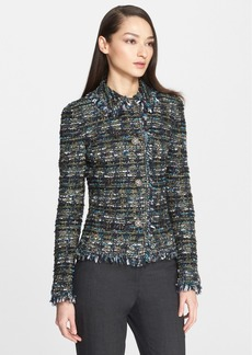 St. John Collection Fringe Ribbon Tweed Knit Jacket