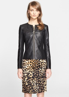 St. John Collection Front Zip Leather Jacket (Nordstrom Exclusive)