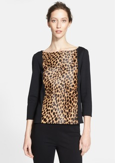 St. John Collection Genuine Calf Hair & Milano Knit Top