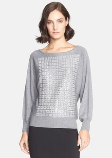 St. John Collection Geo Embroidered Bracelet Sleeve Sweater