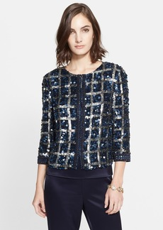 St. John Collection Hand Beaded Plaid Jacket