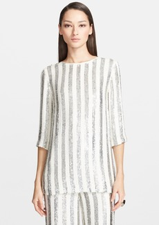 St. John Collection Hand Beaded Sequin Stripe Tunic