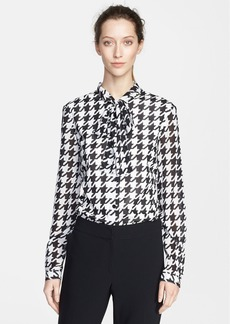 St. John Collection Houndstooth Print Silk Blouse