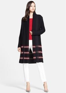 St. John Collection Inlay Stripe Shawl Collar Cardigan