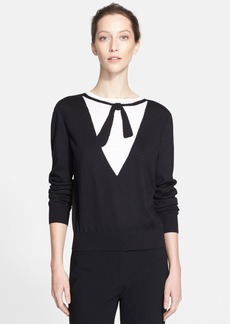 St. John Collection Intarsia Bow Jersey Sweater