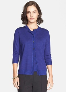 St. John Collection Jersey Cardigan with Rib Trim
