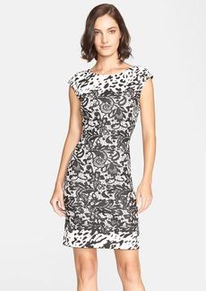 St. John Collection Lace & Animal Shimmer Jacquard Sheath Dress