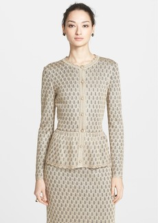 St. John Collection Layered Pointelle Lace Knit Cardigan