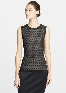 St. John Collection Layered Pointelle Lace Knit Shell