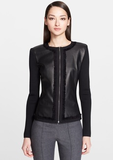 St. John Collection Leather & Milano Knit Jacket with Organza Trim