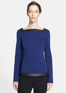 St. John Collection Leather Detail Milano Knit Top