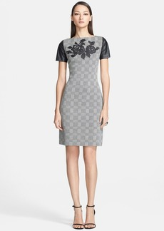 St. John Collection Leather Detail Plaid Knit Sheath Dress