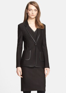 St. John Collection Leather Trim Diamond Knit Jacket