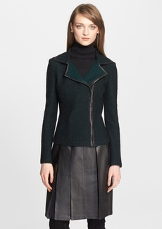St. John Collection Leather Trim Knit Moto Jacket