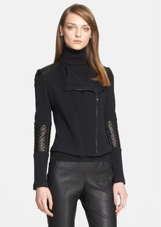 St. John Collection Leather Trim Milano Piqué Knit Moto Jacket
