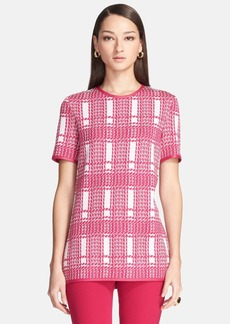 St. John Collection Leather Trim Plaid Damask Jacquard Tunic