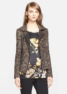 St. John Collection Leather Trim Ribbon Knit Jacket (Nordstrom Exclusive)