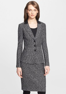St. John Collection Leather Trim Tweed Knit Jacket