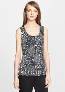 St. John Collection Leopard & Floral Print Knit Shell
