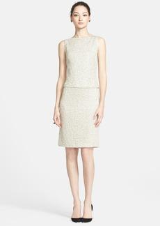 St. John Collection Leopard Jacquard Knit Mock Two-Piece Dress