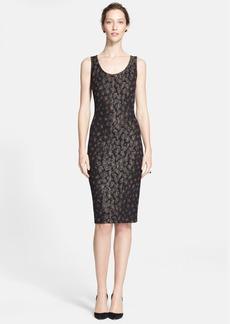 St. John Collection Leopard Jacquard Knit Sheath Dress