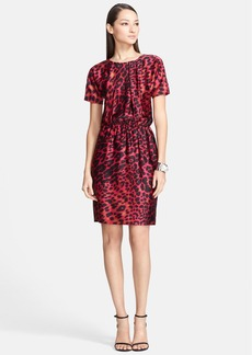 St. John Collection Leopard Print Dolman Sleeve Silk Charmeuse Dress