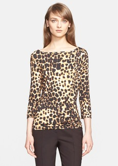 St. John Collection Leopard Print Jersey Top (Nordstrom Exclusive)