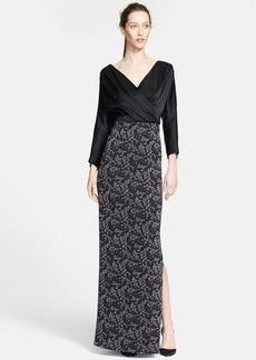 St. John Collection Liquid Satin & Rose Jacquard Knit Gown