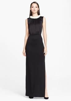 St. John Collection Liquid Satin & Shimmer Milano Knit Gown
