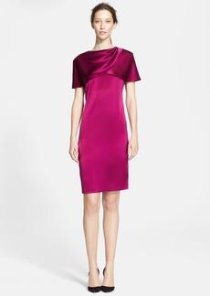 St. John Collection Liquid Satin Cape Dress (Online Only)