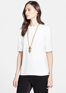 St. John Collection Luxe Crepe Elbow Sleeve Top