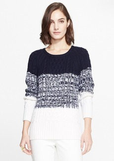 St. John Collection Marled Colorblock Cable Knit Sweater