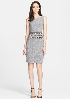 St. John Collection Marled Twill Knit Sheath Dress with Frayed Georgette Fringe