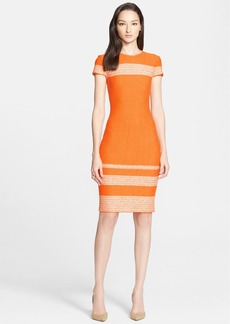 St. John Collection Micro Tweed Engineered Stripe Dress