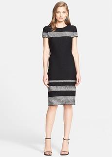 St. John Collection Micro Tweed Engineered Stripe Knit Dress