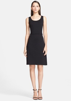 St. John Collection Milano Knit Dress with Crepe Postage Stamp Trim