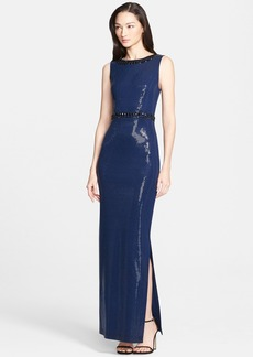 St. John Collection Milano Knit Gloss Sequined Gown