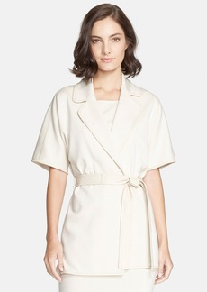 St. John Collection Milano Knit Jacket with Leather Trim & Belt