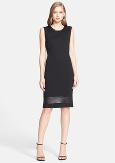 St. John Collection Milano Knit Sheath Dress with Nappa Leather Trim