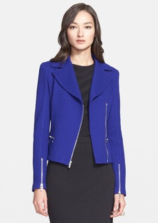St. John Collection Milano Piqué Knit Asymmetric Moto Jacket