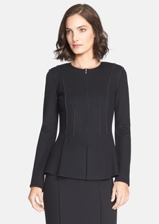 St. John Collection Milano Piqué Knit Peplum Jacket
