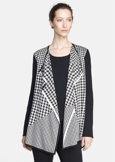 St. John Collection Multi Scale Houndstooth Jacquard Knit Cardigan