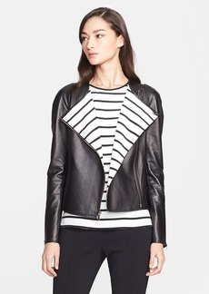 St. John Collection Nappa Leather Jacket with Stripe Lining