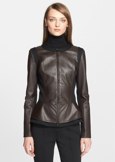 St. John Collection Nappa Leather Peplum Jacket