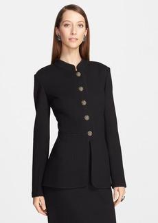 St. John Collection Nehru Collar Herringbone Knit Jacket