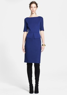 St. John Collection Nouveau Bouclé & Milano Knit Peplum Dress