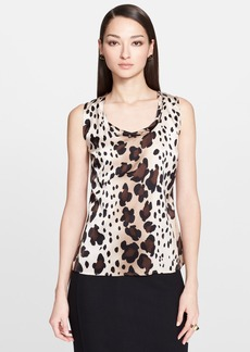 St. John Collection Ombré Leopard Print Silk Top